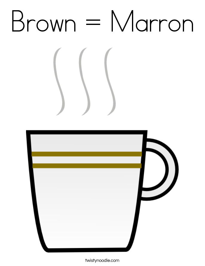 Brown = Marron Coloring Page