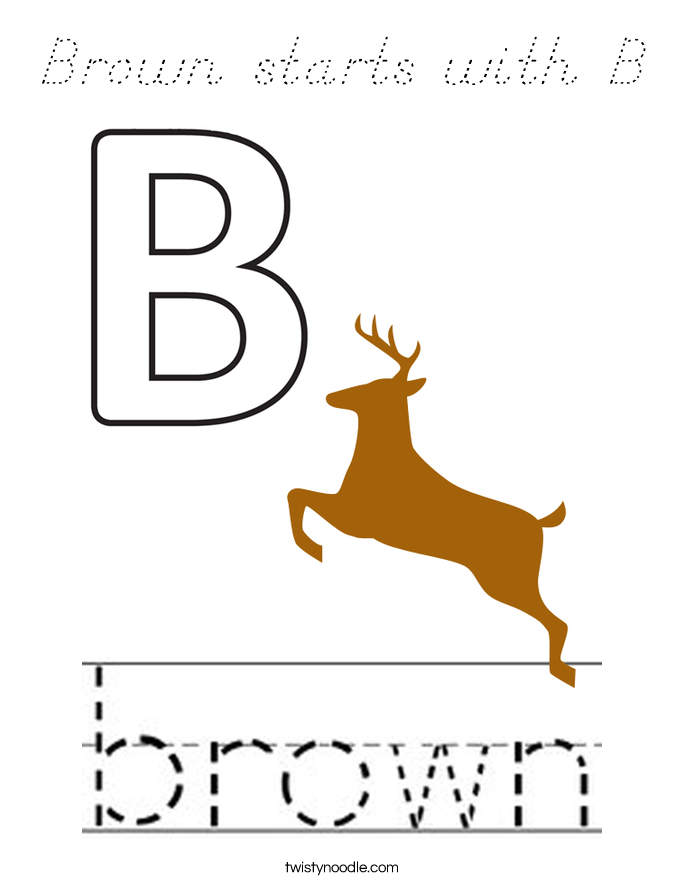 Brown starts with B Coloring Page