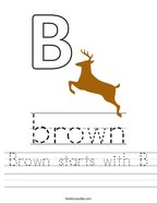 Brown starts with B Handwriting Sheet