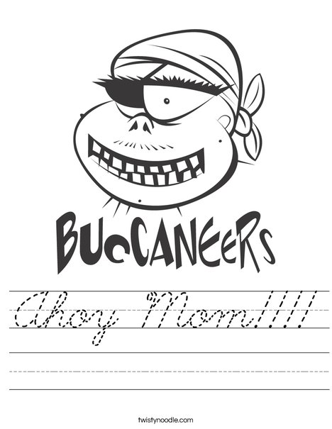 Buccaneers Pirate Worksheet