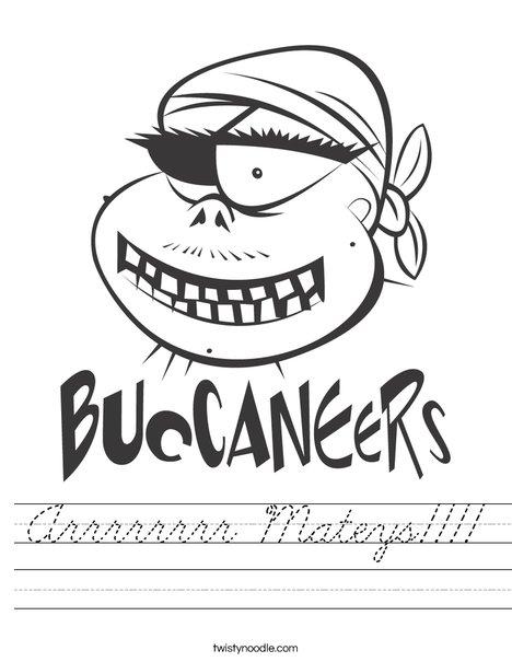 Buccaneers Pirate Worksheet