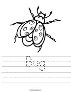 Bug Handwriting Sheet