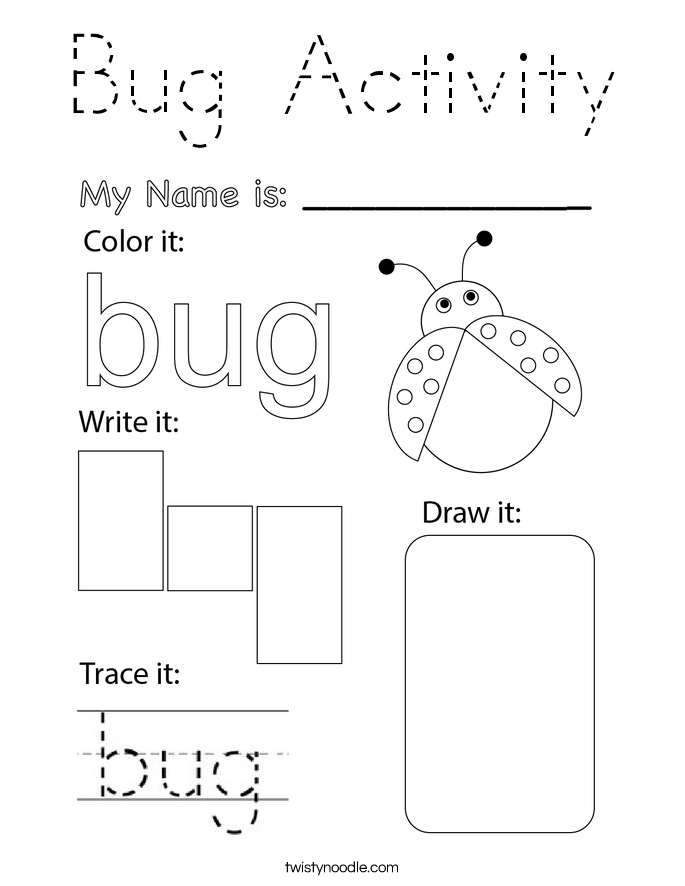 Bug Activity Coloring Page