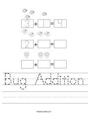 Bug Addition Handwriting Sheet