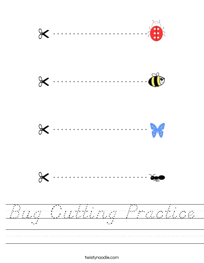 Bug Cutting Practice Worksheet