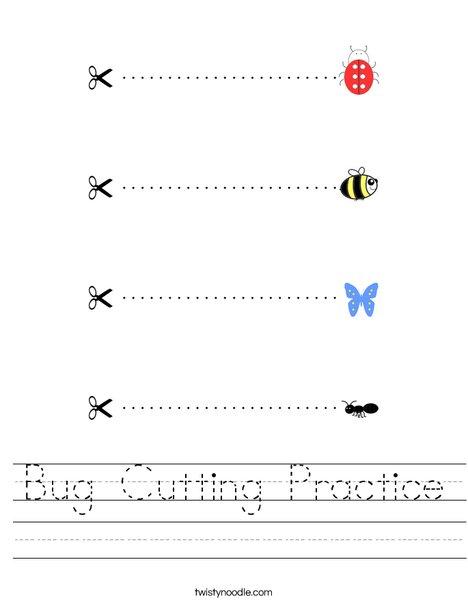 Bug Cutting Practice Worksheet