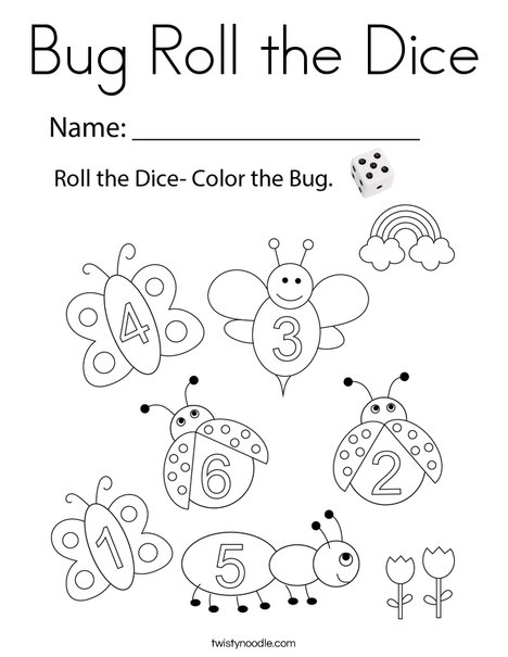 Bug Roll the Dice Coloring Page