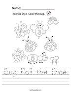 Bug Roll the Dice Handwriting Sheet