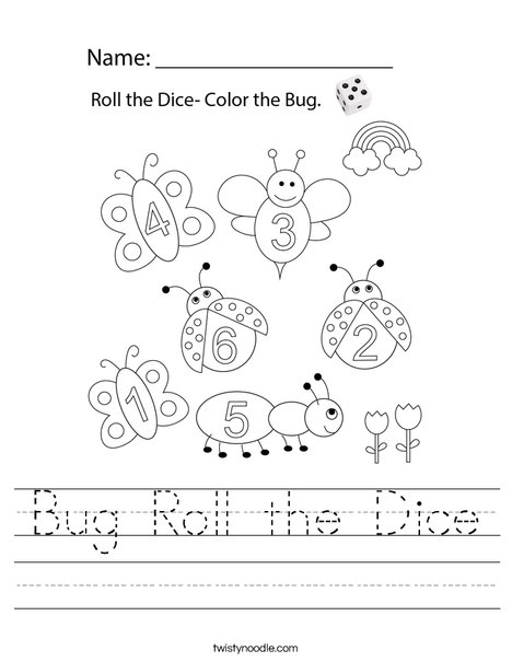 Bug Roll the Dice Worksheet