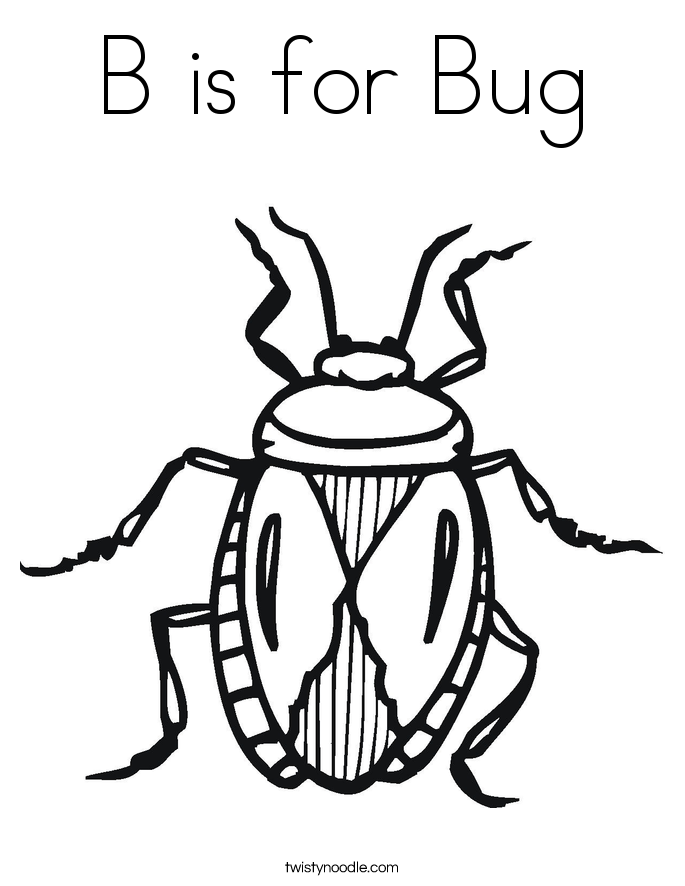 b is for bug coloring page - Insect Coloring Pages