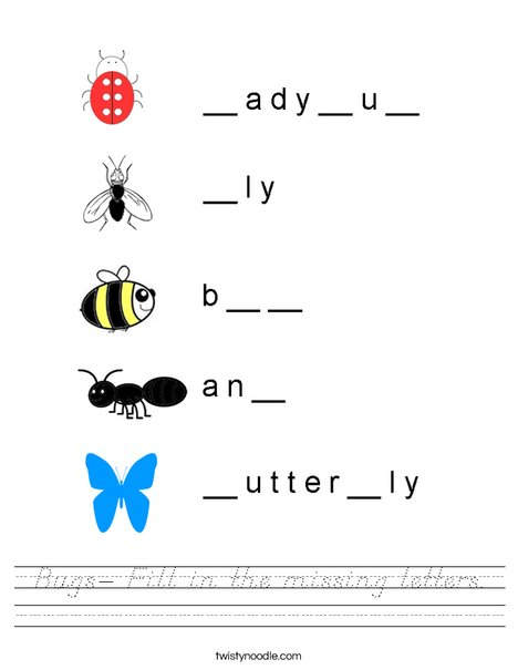 Bugs- Fill in the missing letters. Worksheet