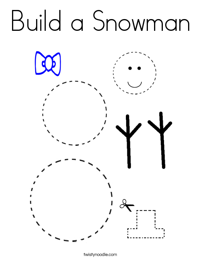 Build a Snowman Coloring Page