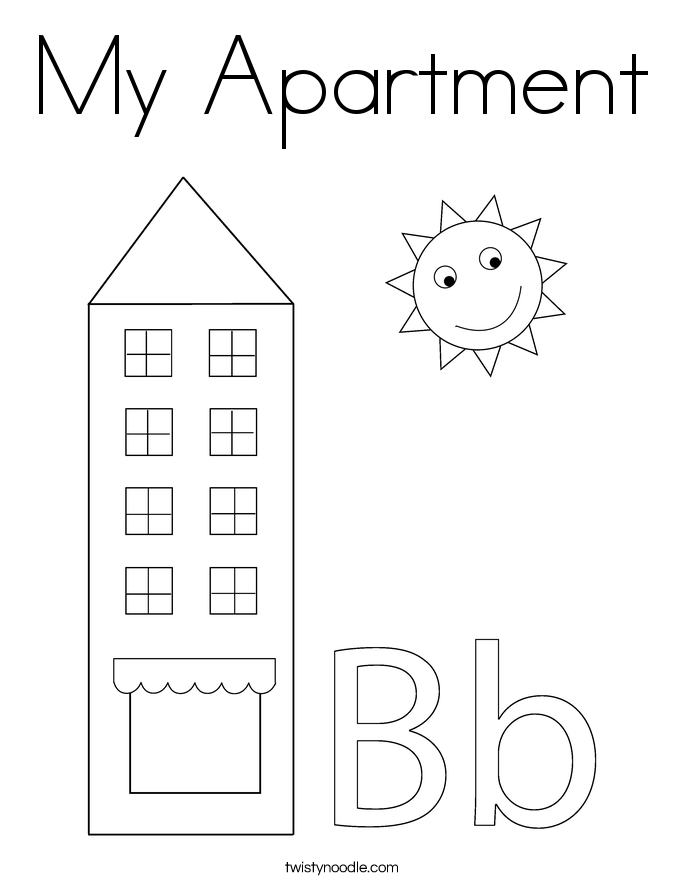 Apartment Building Coloring Page   Coloring Pages