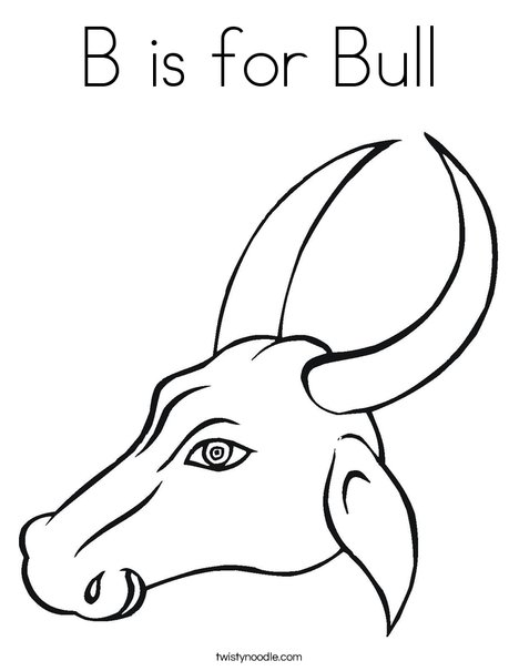 Bull Head with Horns Coloring Page