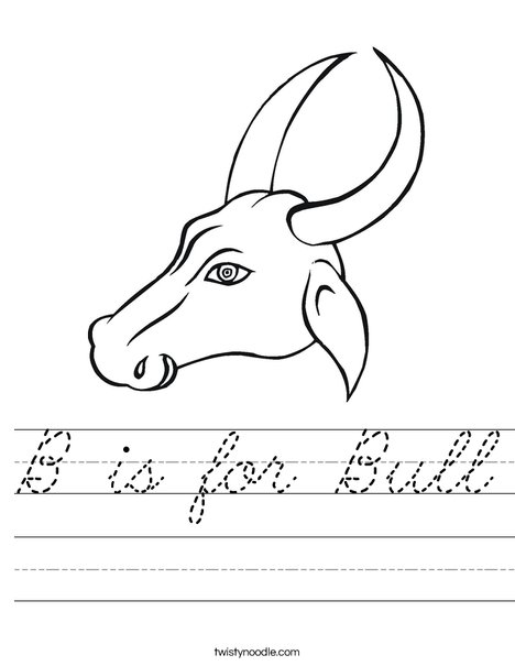 Bull Head with Horns Worksheet