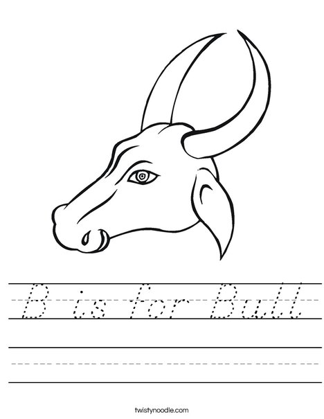 Bull Head with Horns Worksheet
