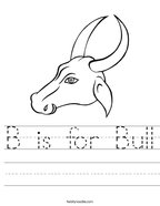 B is for Bull Handwriting Sheet