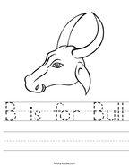 B is for Bull Handwriting Sheet