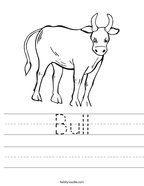 Bull Handwriting Sheet