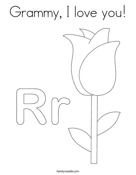 grammy i love you coloring page twisty noodle Getting to Know You Coloring Pages bunch of roses coloring page