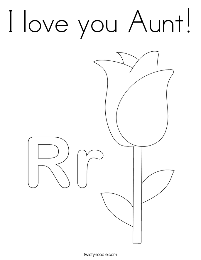 I love you Aunt Coloring Page