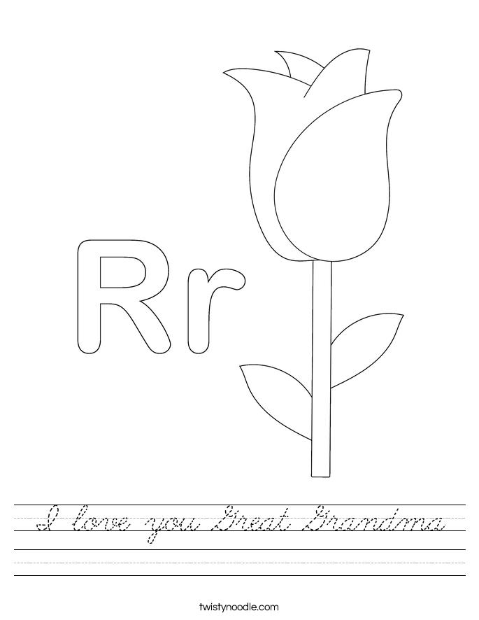 I love you Great Grandma Worksheet