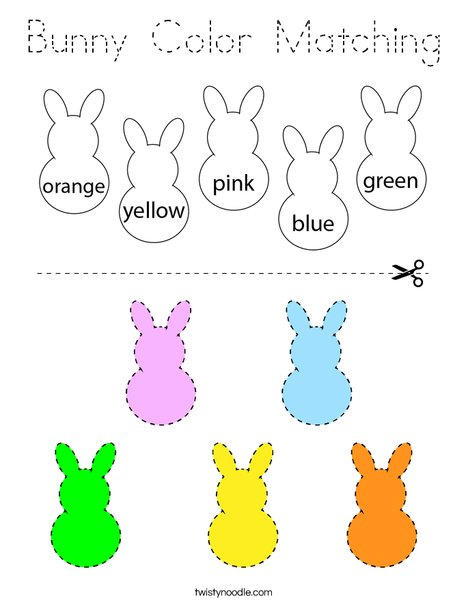 Bunny Coloring Matching Coloring Page