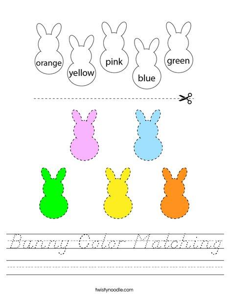 Bunny Coloring Matching Worksheet