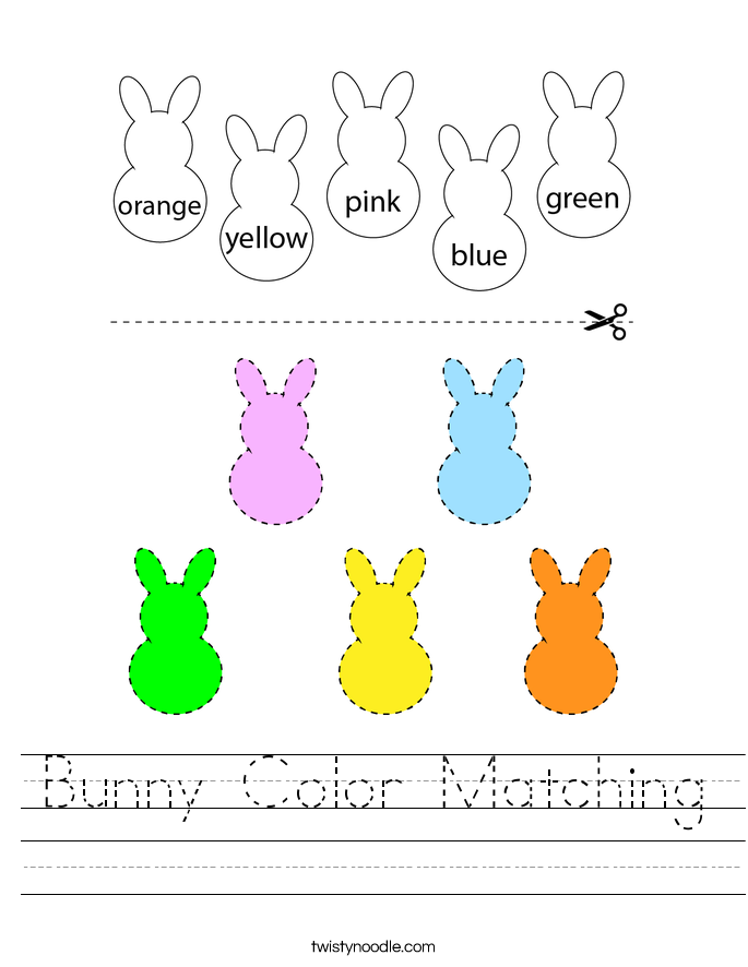Bunny Color Matching Worksheet