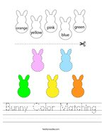 Bunny Color Matching Handwriting Sheet