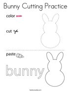 Bunny Cutting Practice Coloring Page