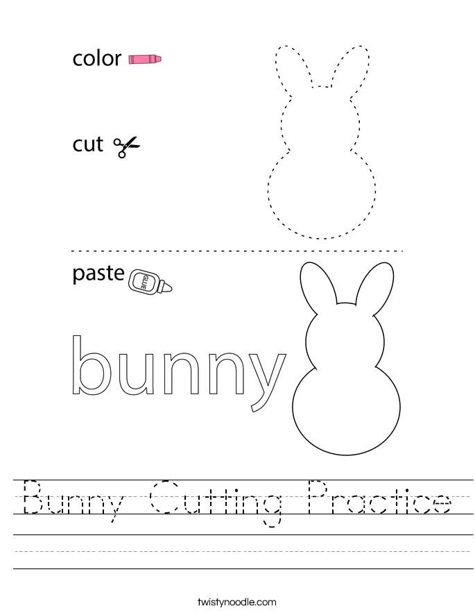 Bunny Cutting Practice Worksheet