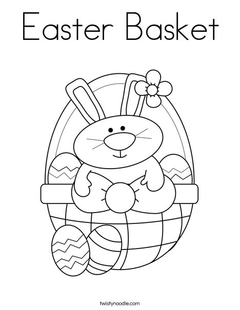 Bunny In Easter Basket Coloring Page