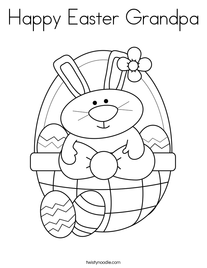 Happy Easter Grandpa Coloring Page