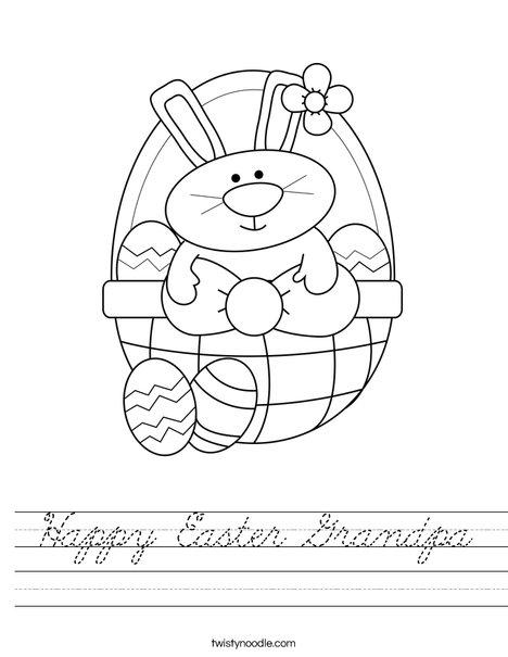 Bunny in Easter Basket Worksheet