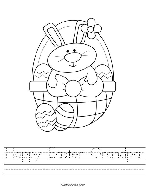 Bunny in Easter Basket Worksheet