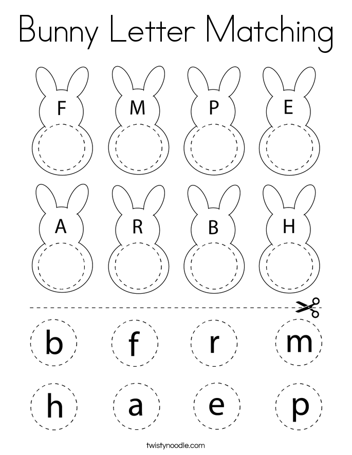 Bunny Letter Matching Coloring Page