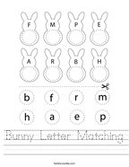 Bunny Letter Matching Handwriting Sheet