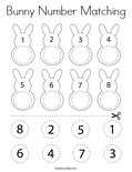 Bunny Number Matching Coloring Page