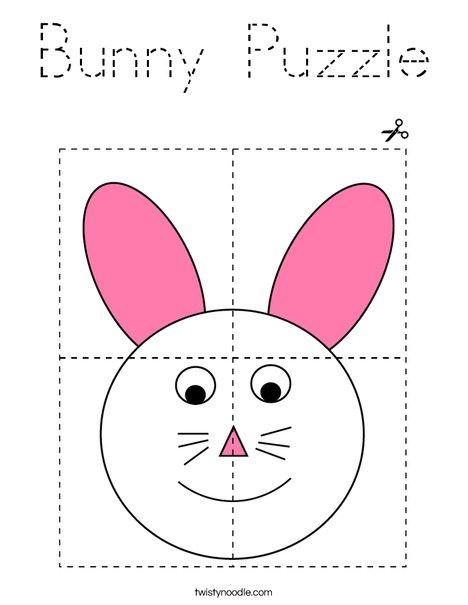Bunny Puzzle  Coloring Page