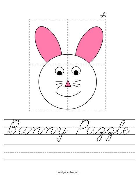 Bunny Puzzle  Worksheet