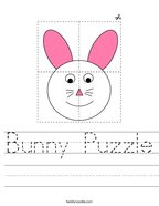 Bunny Puzzle Handwriting Sheet