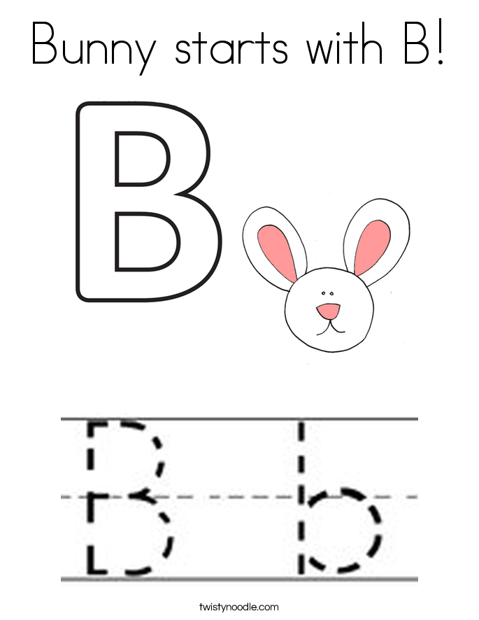Bunny starts with B! Coloring Page