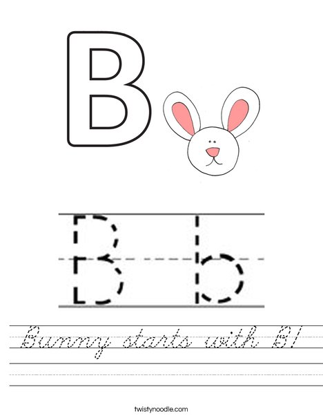 Bunny starts with B! Worksheet