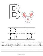 Bunny starts with B Handwriting Sheet
