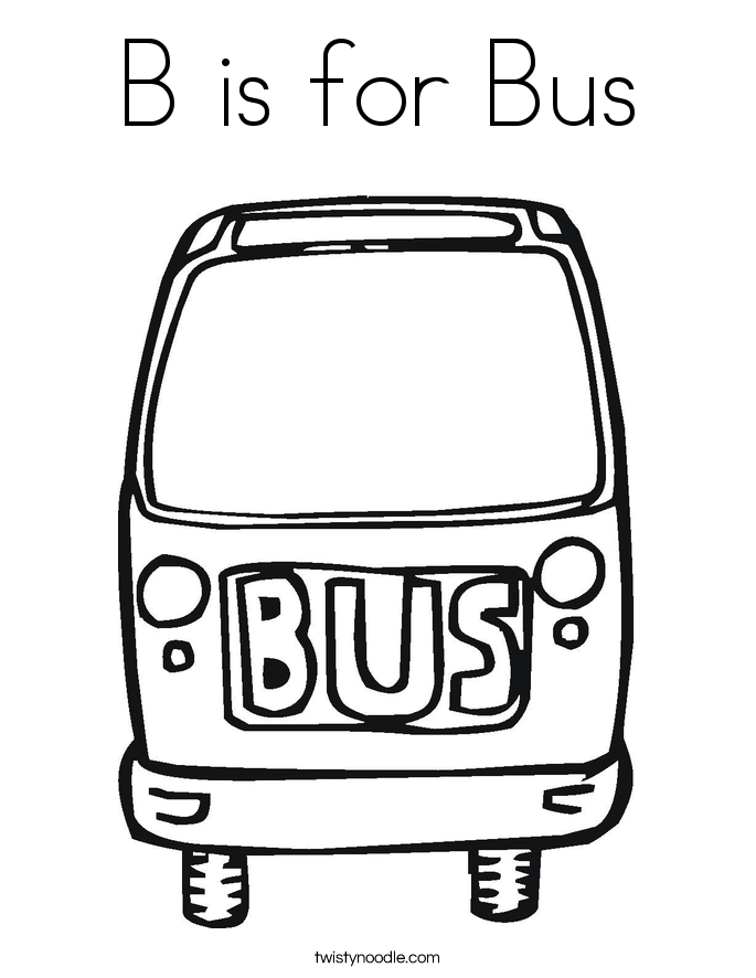 b is for bus coloring page twisty noodle
