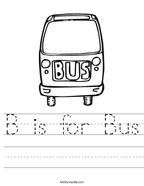 B is for Bus Handwriting Sheet