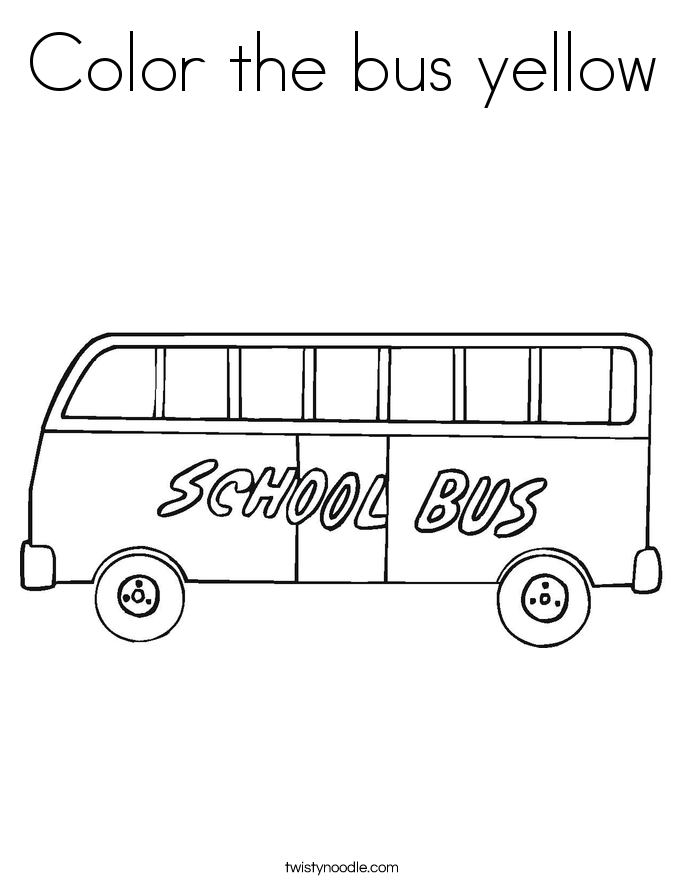 Color the bus yellow Coloring Page