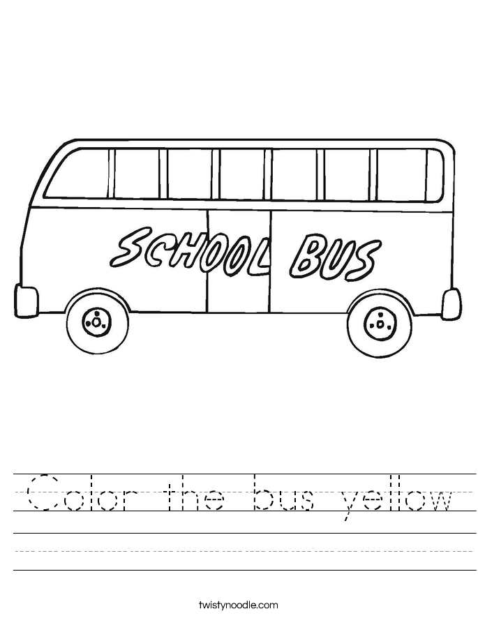 Color the bus yellow Worksheet