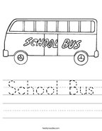 School Bus Handwriting Sheet